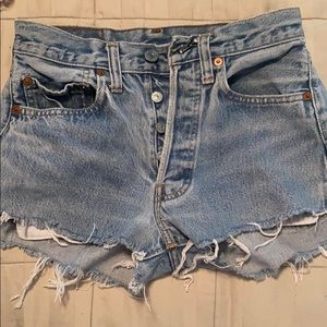 Levi's high rise distressed shorts